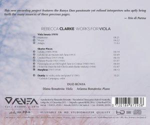 Rebecca Clarke - Works for Viola - Back