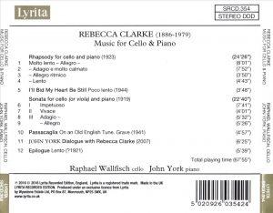 Music for Cello back