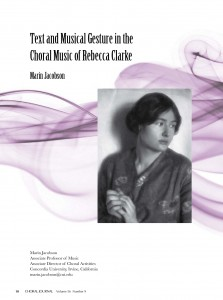 Text and Musical Gesture in the Choral Music of Rebecca Clarke - Marin Jacobson Cover Pic